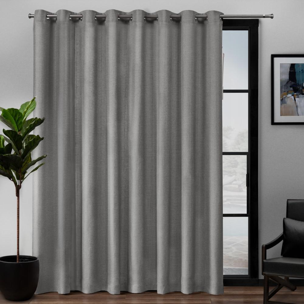 Exclusive Home Curtains Loha Patio Linen Grommet Top Curtain Panel In Black Pearl 108