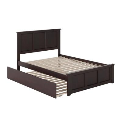 Madison Full Platform Bed with Matching Foot Board with Full Size Urban Trundle Bed in Espresso