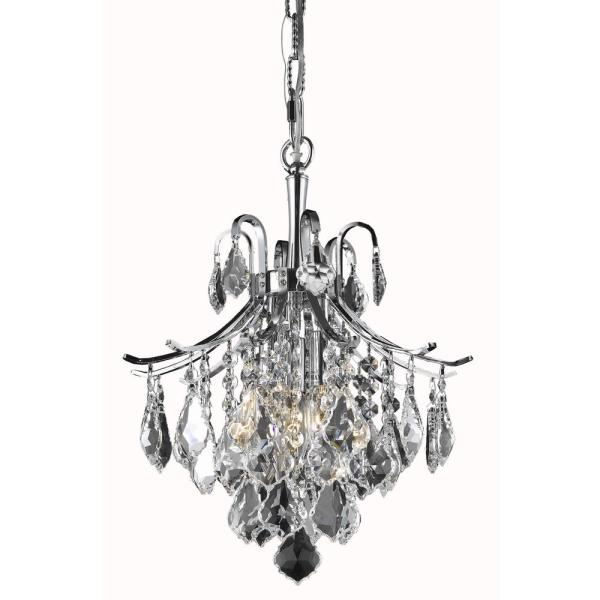 Timeless Home Abby 12 in. W x 15 in. H 3-Light Chrome Pendant