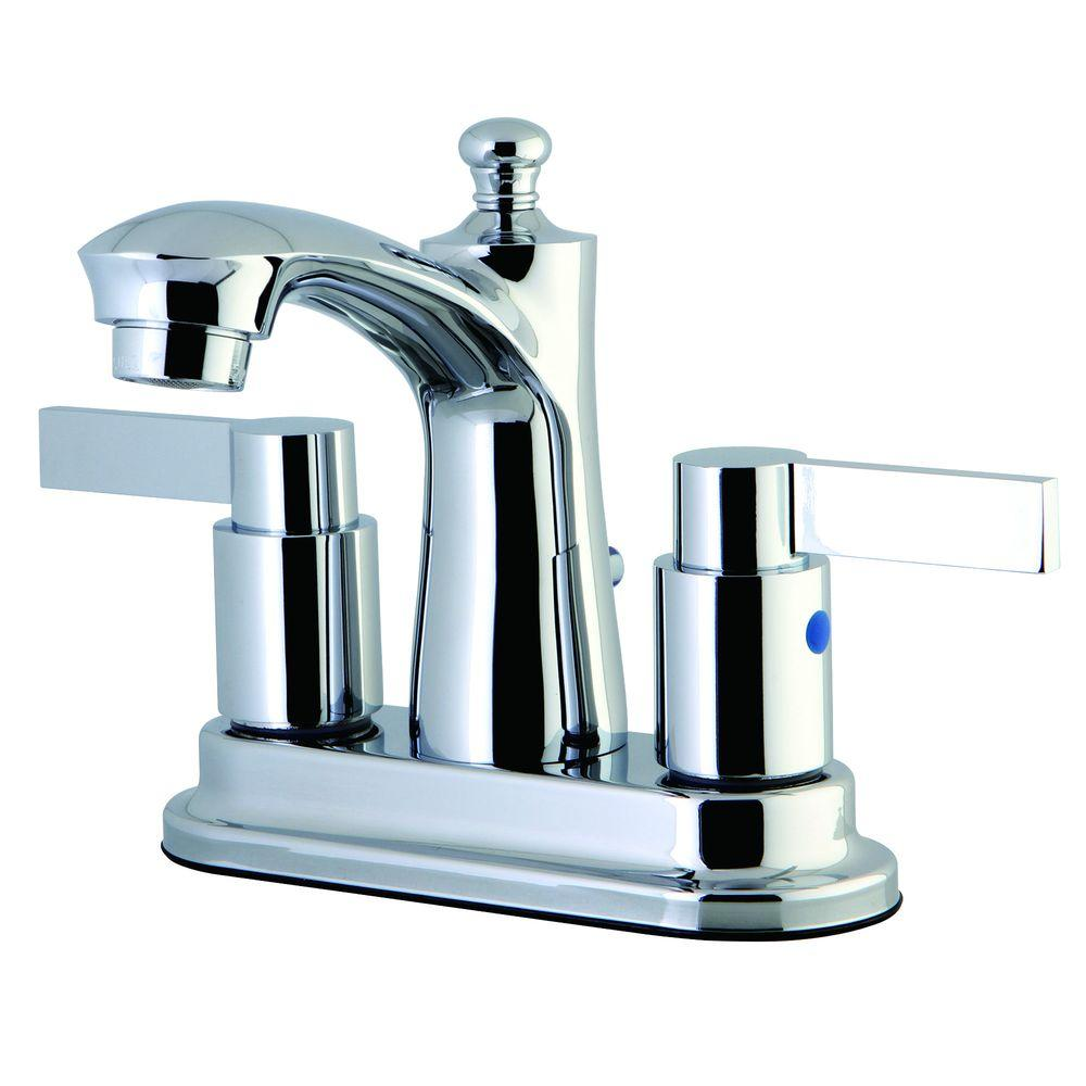 Kingston Brass 4 In Centerset 2 Handle Bathroom Faucet In Polished Chrome Hfb7621ndl The Home