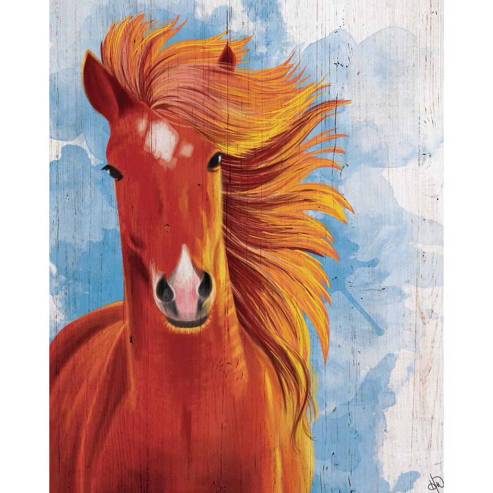 "20 in. x 24 in. ""Stallion Painting on Blue Watercolor"" Planked"