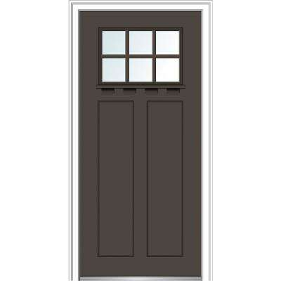 36 in. x 80 in. Left-Hand Inswing 6-Lite Clear 2-Panel Shaker Painted Fiberglass Smooth Prehung Front Door with Shelf