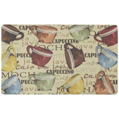 Coffee Cup Party 18 in. x 30 in. Foam Comfort Kitchen Mat
