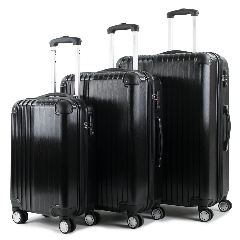 Melrose Black 3-Piece Polycarbonate Expandable Spinner Luggage with TSA Lock and