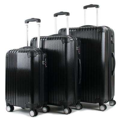 Melrose Black 3-Piece Polycarbonate Expandable Spinner Luggage with TSA Lock and Corner Guards