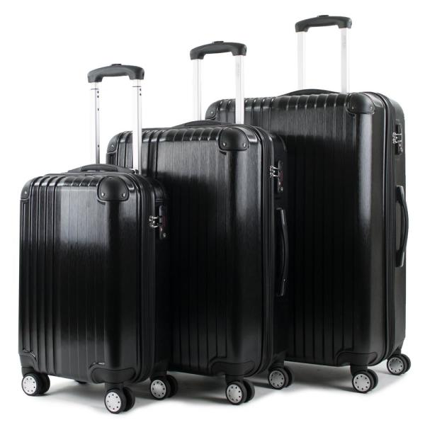 American Green Travel Melrose Black 3-Piece Polycarbonate Expandable Spinner