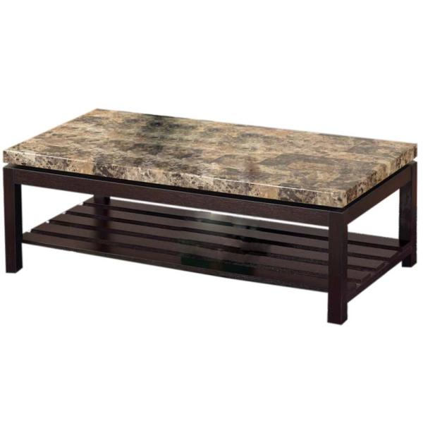 17 in. H Red Cocoa 2-Tone Brown Faux Marble Top Coffee Table