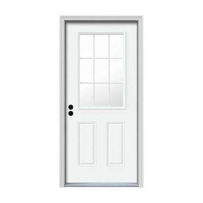 30 in. x 80 in. 9 Lite White Painted Steel Prehung Right-Hand Inswing Front Door w/Brickmould