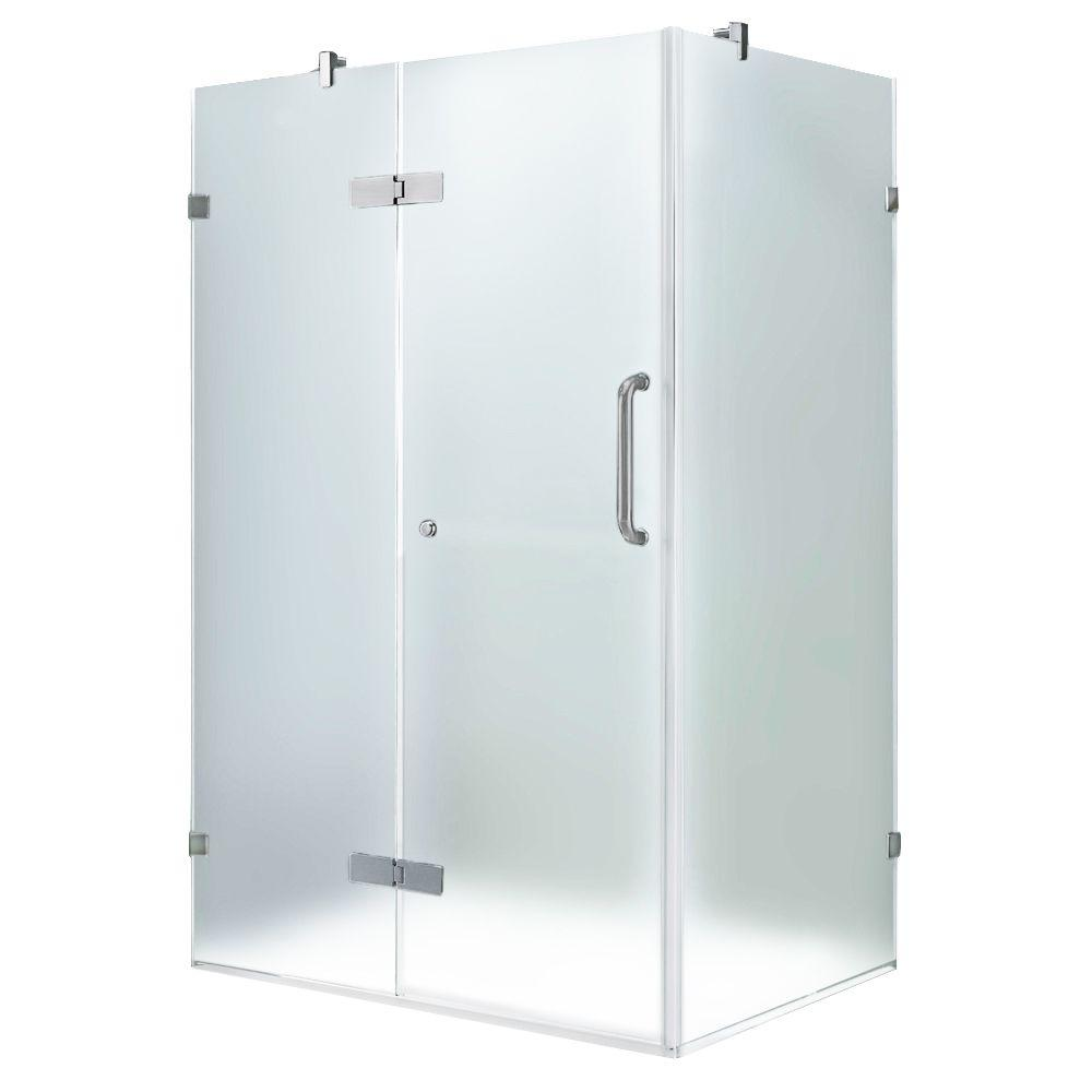 Vigo 30-1/4 in. x 46 in. x 73-3/8 in. Frameless Pivot Shower Enclosure in Brushed Nickel with Frosted Glass and Left Door