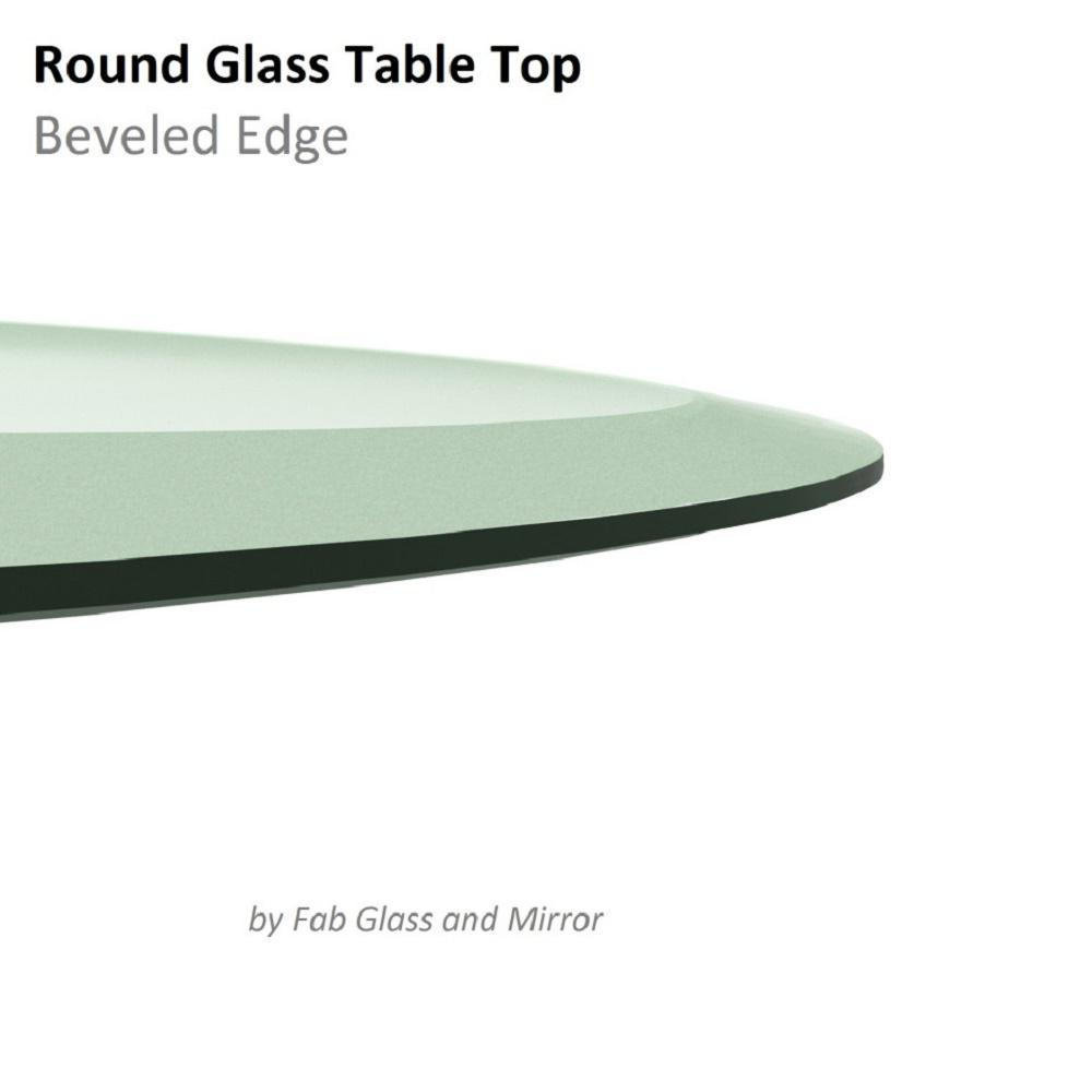 1e274d9039fa Fab Glass and Mirror 32 in. Clear Round Glass Table Top, 1/2 in. Thickness  Tempered Beveled Edge Polished 32RT12THBEAN - The Home Depot