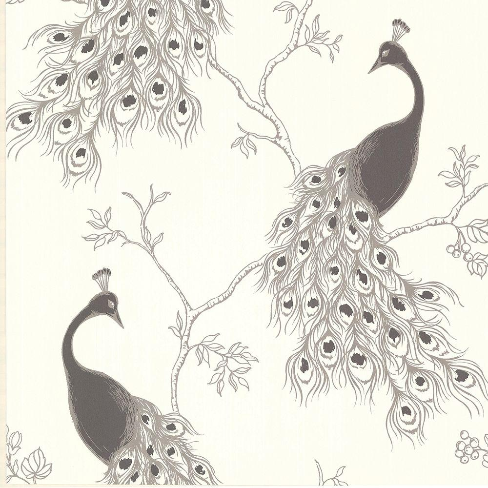 Brewster Prevost Silver Peacock Wallpaper-2686-20272