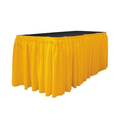 17 ft. x 29 in. Long Dark Yellow Polyester Poplin Table Skirt with 10 L-Clips