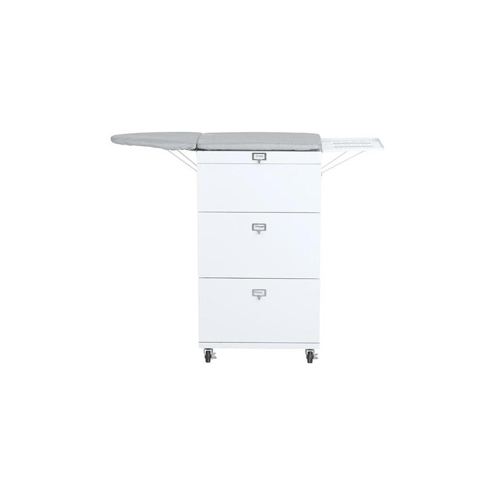 Becker White/Grey 2-Drawer Ironing Board Cart with Wheels