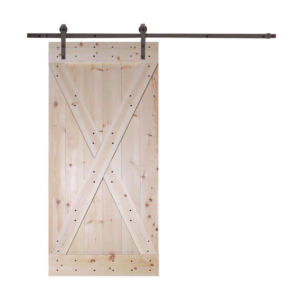 36 in. x 84 in. X-Panel Solid Core Knotty Pine Interior Barn Door with Sliding Door Hardware Kit