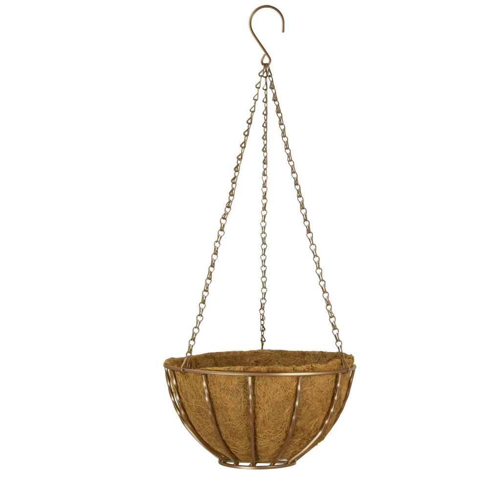 Canterbury 12 in. Metal Antique Bronze Hanging Basket