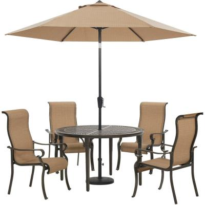 Brigantine 5-Piece Aluminum Outdoor Dining Set with 4 Sling Chairs, Round Cast-Top Table, 9 ft. Umbrella and Base