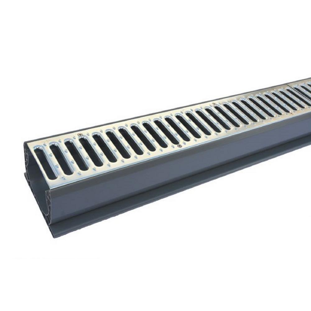 NDS 4 in. x 10 ft. PVC Speed-D Drainage Channel Drain with Metal Grate
