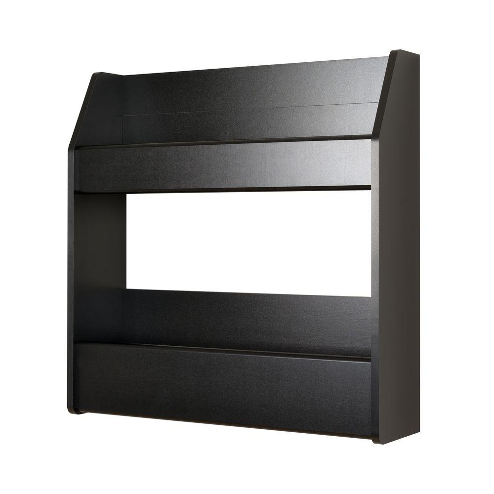 Black 2-Shelf Composite-Wood Floating Wine and Liquor Rack