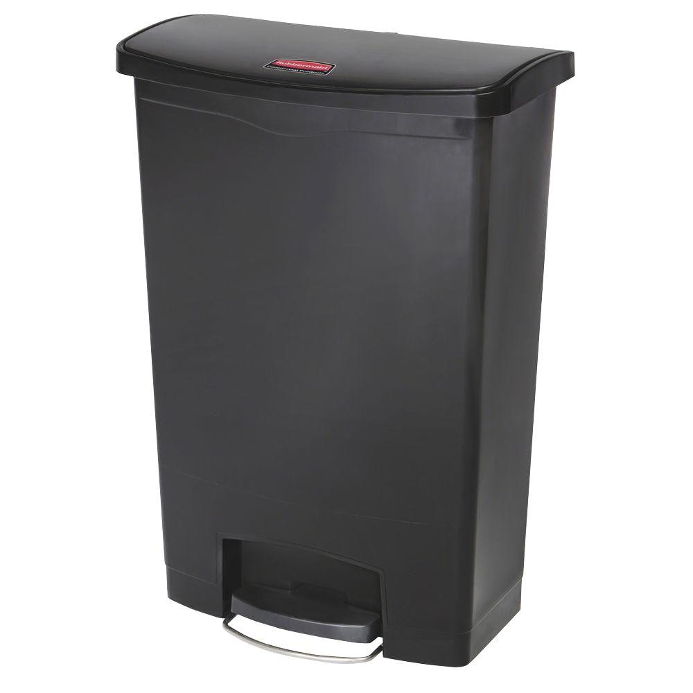 Rubbermaid 8 Gal. Black Rectangular Trash Can with LinerLock ...