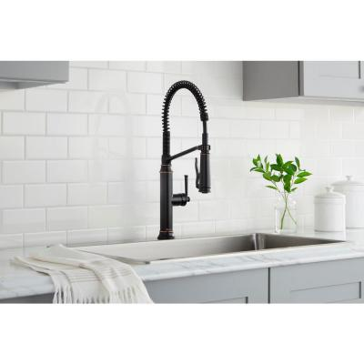 Linscott Single-Handle Coil Springneck Pull-Down Sprayer Kitchen Faucet in Oil Rubbed Bronze