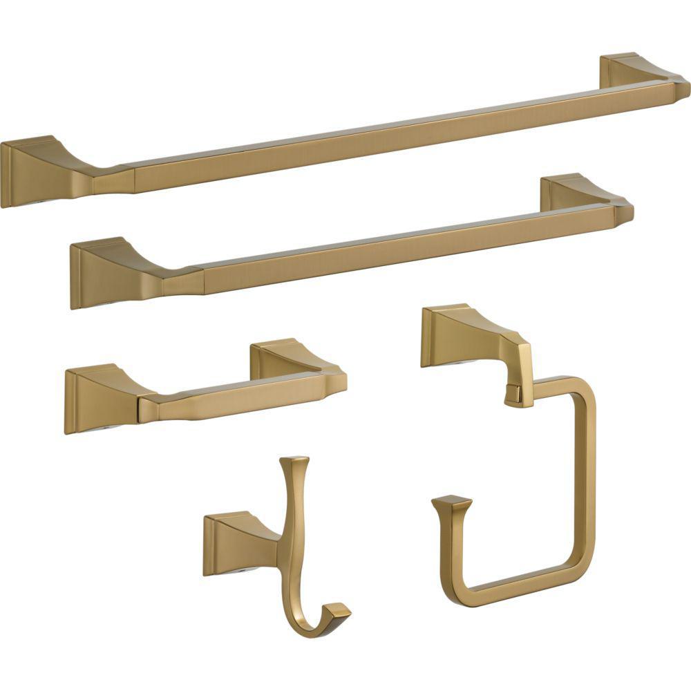 Dryden 5-Piece Bath Hardware Set in Champagne Bronze