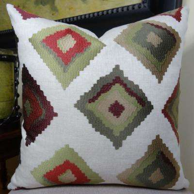 Red Earth Native Trail 20 in. x 36 in. King White, Green and Red Hypoallergenic Down Alternative Throw Pillow