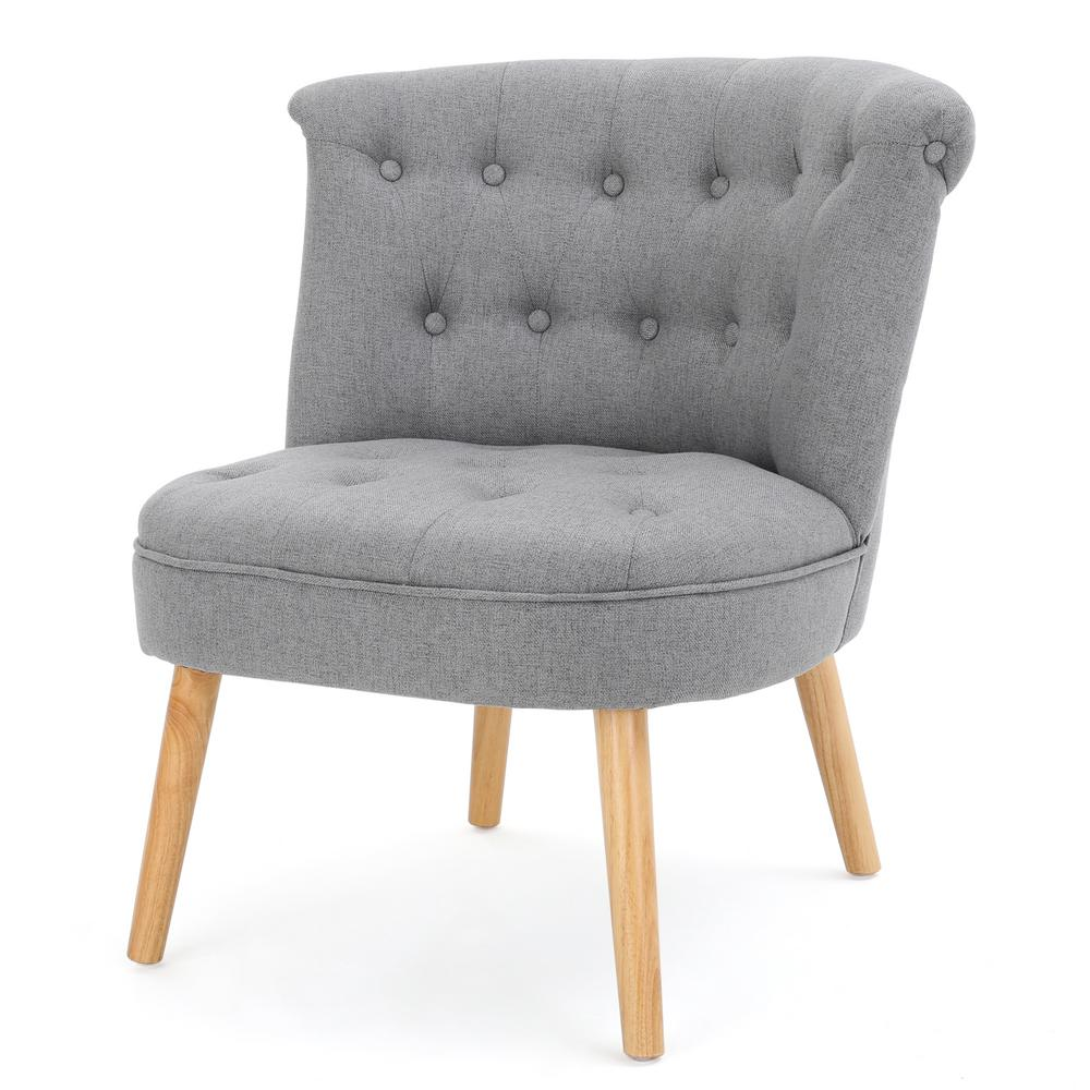 Pedro Grey Fabric Tufted Accent Chair