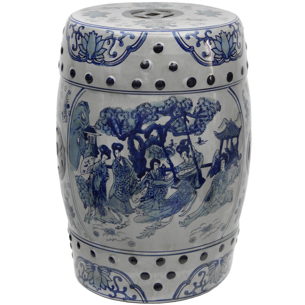 Ladies Blue And White Porcelain Garden Stool
