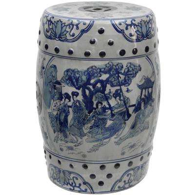 Oriental Furniture 18 in. Ladies Blue and White Porcelain Garden Stool