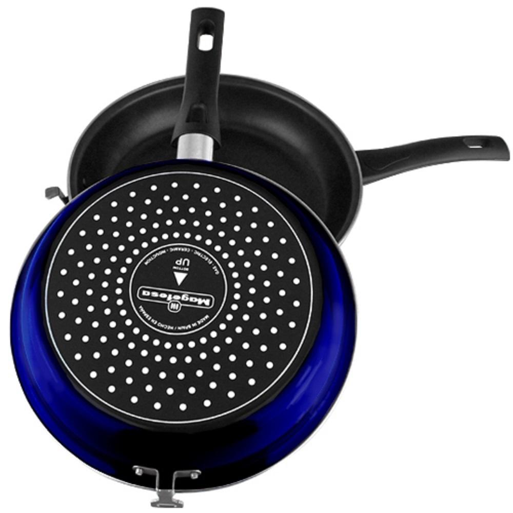Omelette 9.5 in. Porcelain on Steel Frypan in Blue 2-Pieces