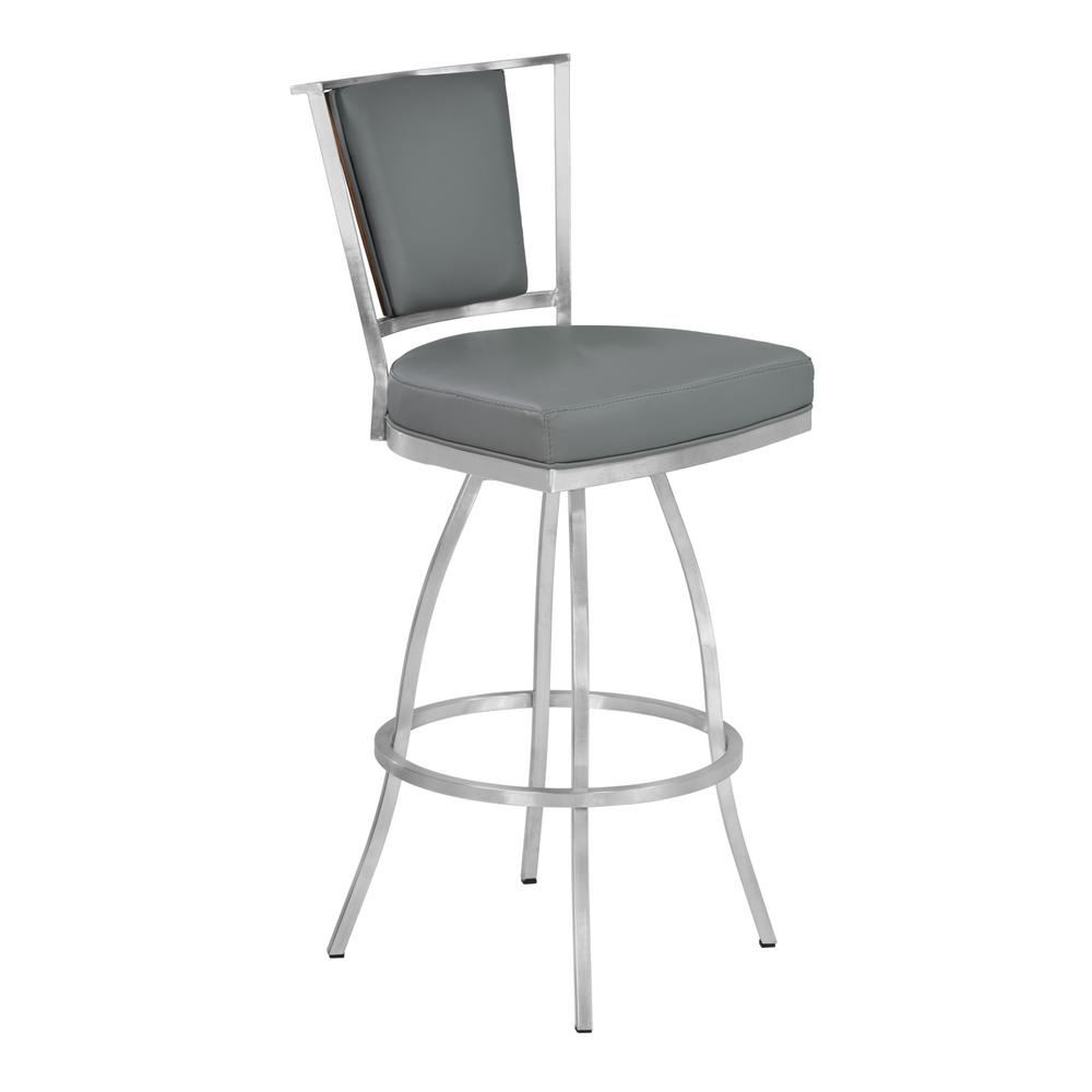 Beau Armen Living Delhi 30 In. Gray Faux Leather And Brushed Stainless Steel  Finish Barstool