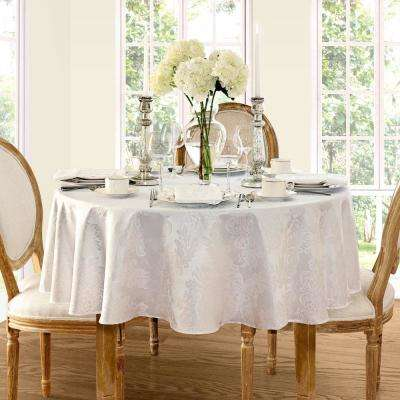 90 in. Round White Elrene Barcelona Damask Fabric Tablecloth