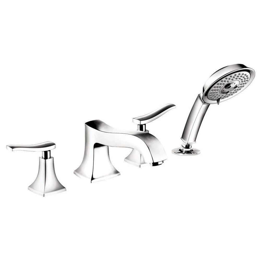 Metris C Lever 2-Handle Deck-Mount Roman Tub Faucet with Hand Shower