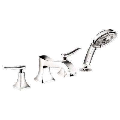 Metris C Lever 2-Handle Deck-Mount Roman Tub Faucet with Hand Shower in Chrome