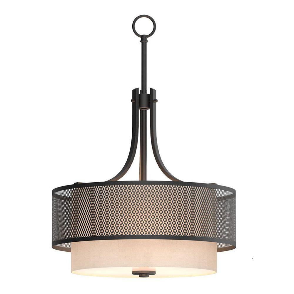 Drum pendant lights lighting the home depot 3 light bronze mesh pendant with inner cream fabric shade aloadofball Images