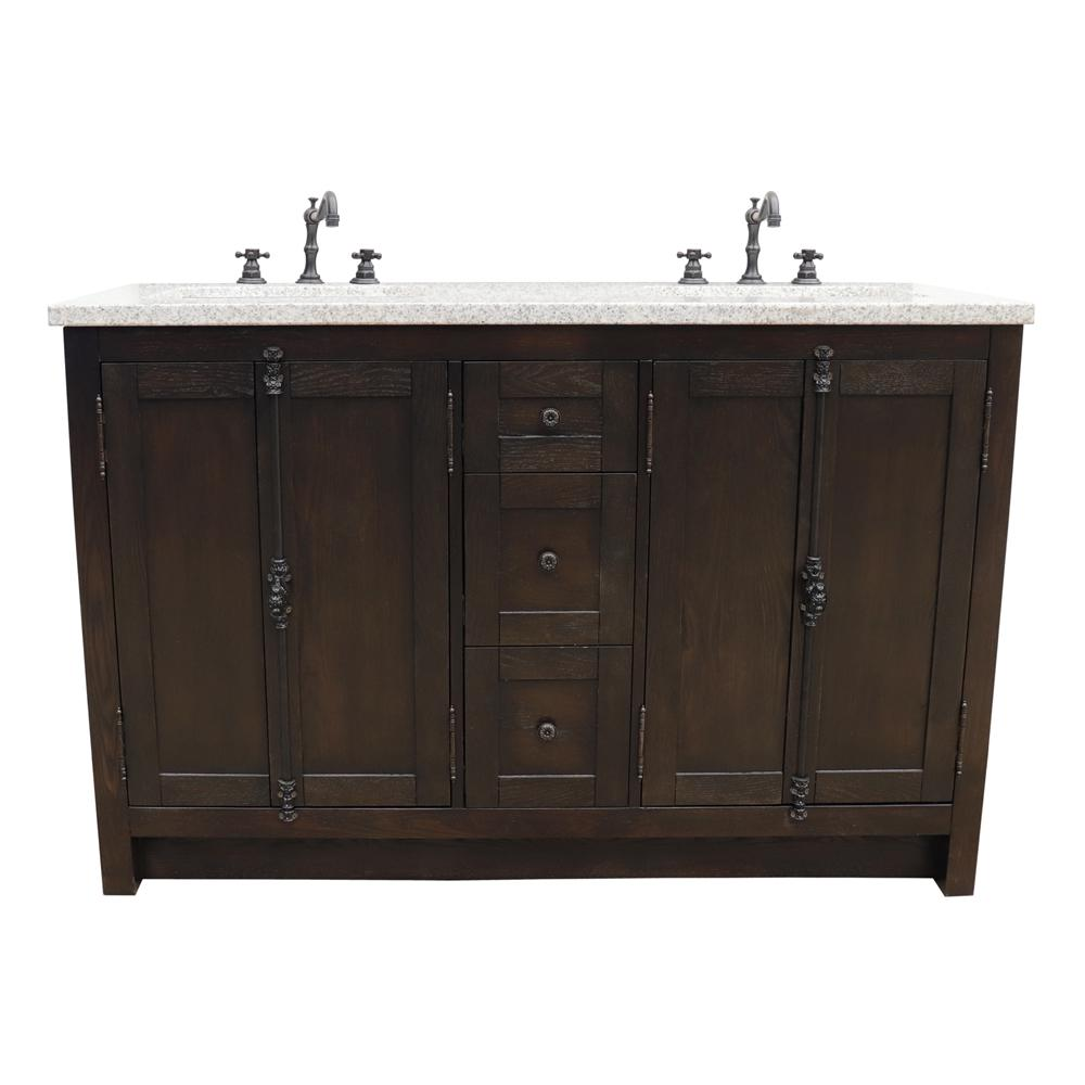 Bellaterra Home Plantation 55 in. W x 22 in. D Double Bath Vanity in Brown with Granite Vanity Top in Gray with White Rectangle Basins
