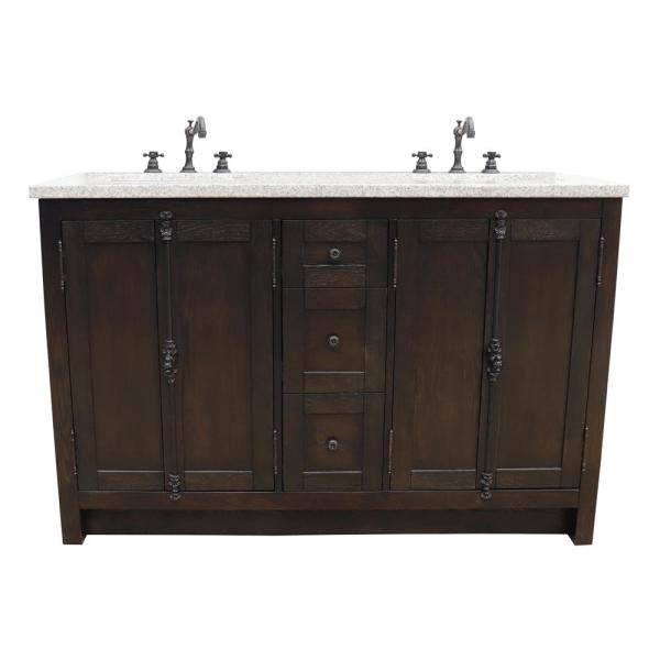 Bellaterra Home Plantation 55 In W X 22 In D Double Bath Vanity In Brown With Granite Vanity Top In Gray With White Rectangle Basins Bt100 55 Ba Gy The Home Depot