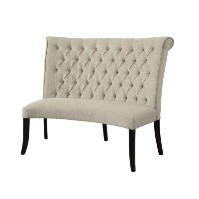 28 in. L x 48 in. W x 42.5 in. H Beige and Black Button Tufted Fabric Upholstered Wooden Love Seat Bench