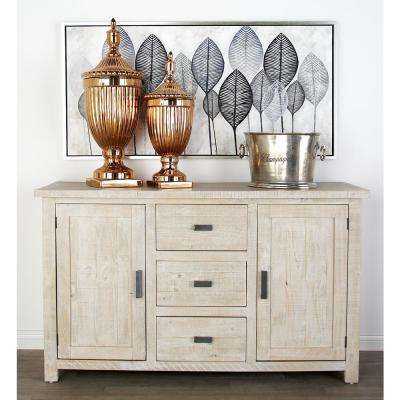 White Rectangular Sideboard With 2 Doors And 3 Drawers