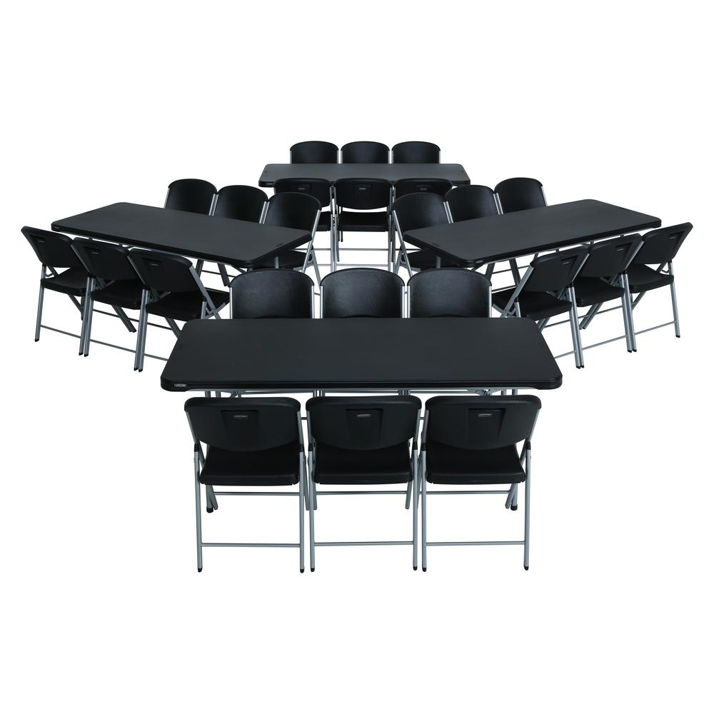- Lifetime 28-Piece Black Stackable Folding Table Set-80440 - The