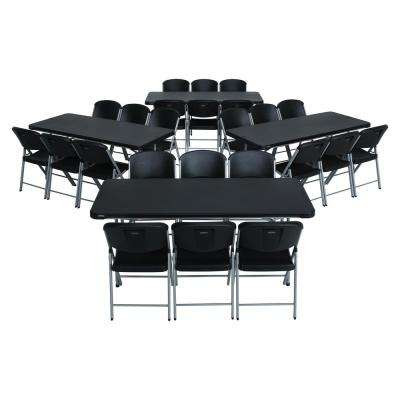 28-Piece Black Stackable Folding Table Set