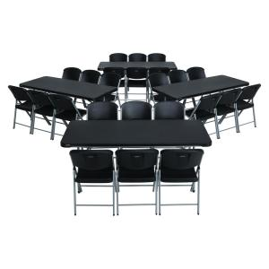 28piece black folding table and chair set