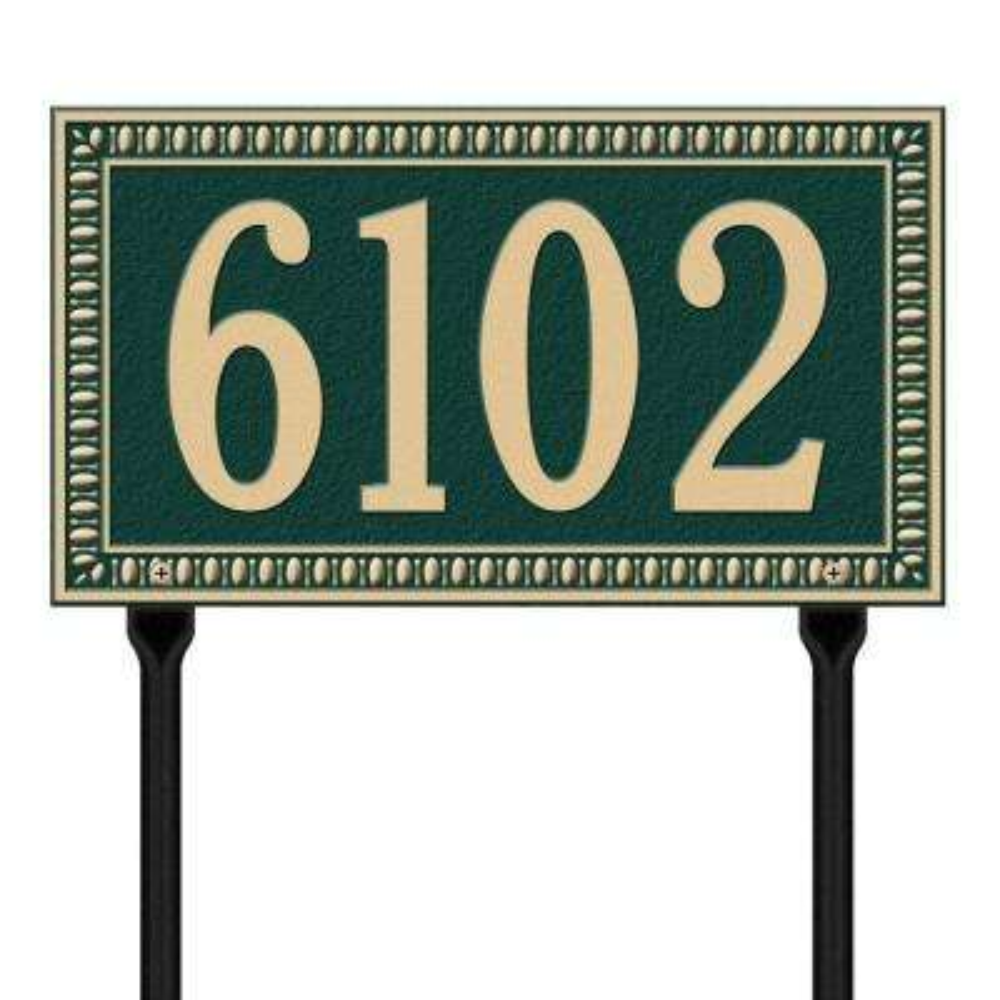 Egg and Dart Rectangular Green/Gold Standard Lawn One Line Address Plaque