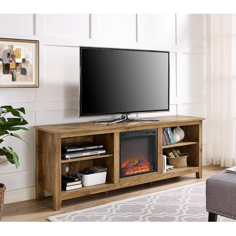 Good Walker Edison Furniture Company Barnwood 70 In. Wood Media TV Stand Console  With Fireplace HD70FP18BW   The Home Depot
