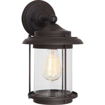 Mini 1-Light Antique Bronze Indoor/Outdoor Lamp/Lantern Wall Mount/Wall Sconce with Clear Cylindrical Glass