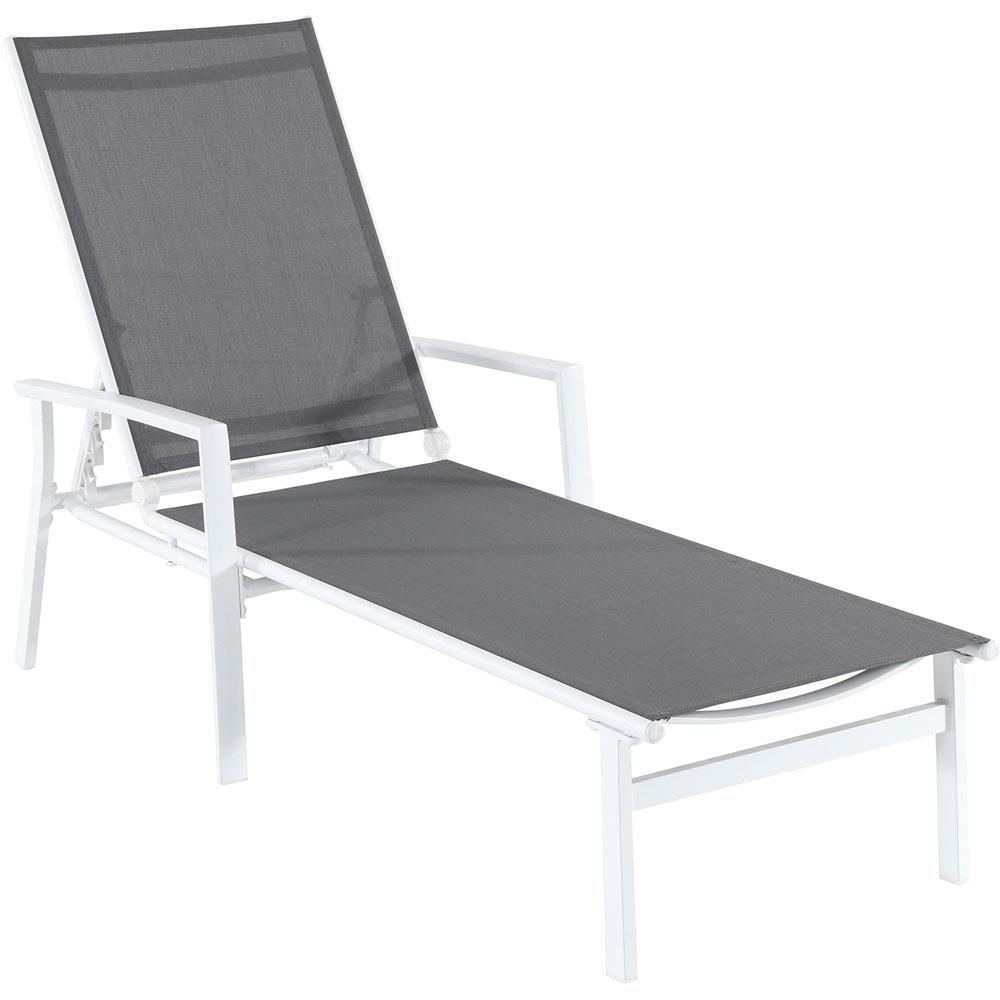 Nova White Frame Adjustable Sling Outdoor Chaise Lounge in Gray Sling