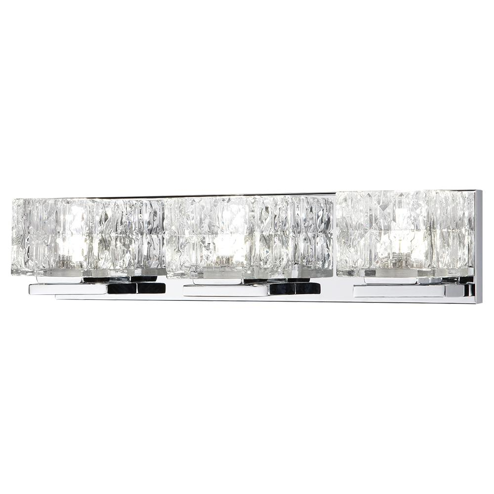 75-Watt Equivalent 3-Light Chrome Integrated LED Vanity Light with Clear Cube