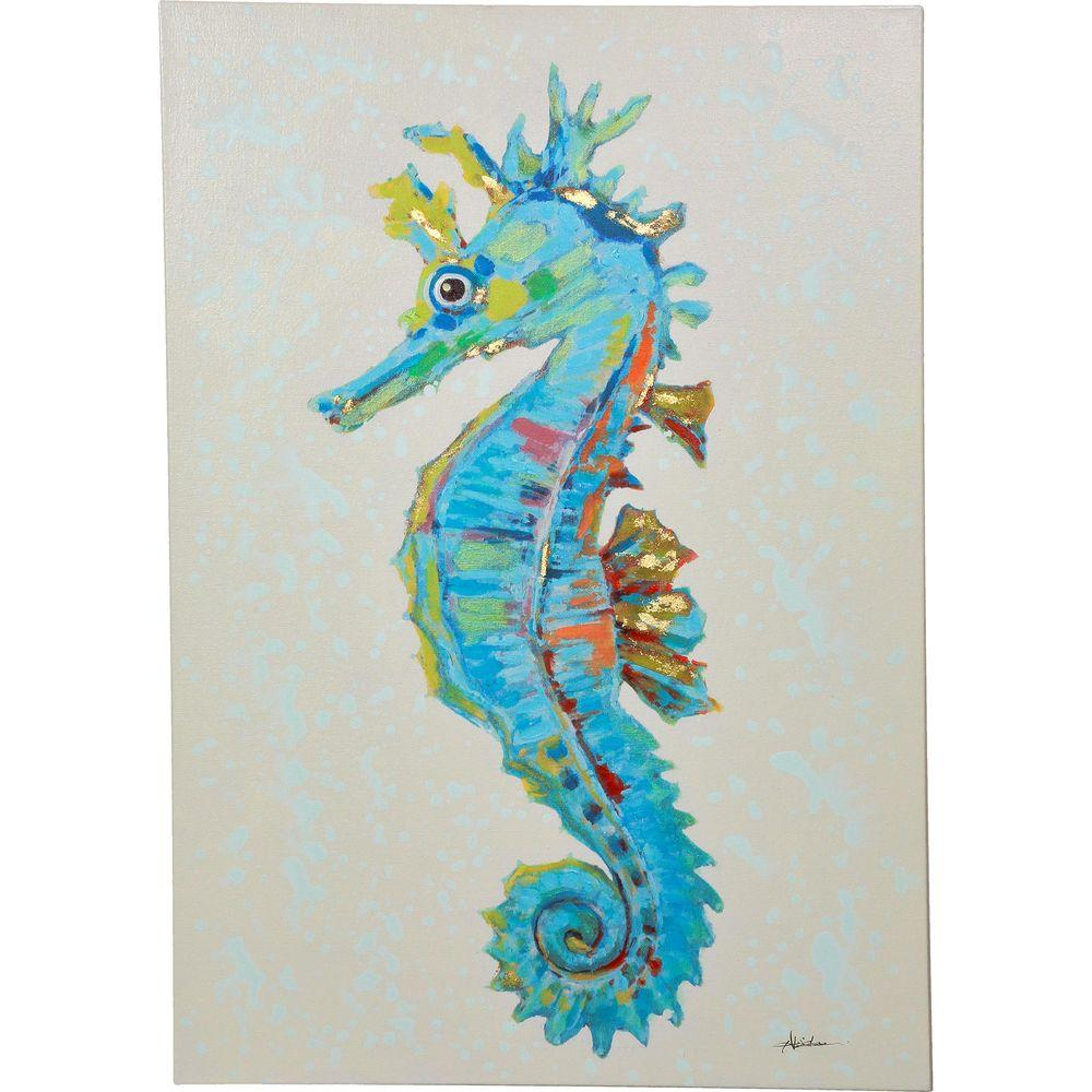 y decor 40 in x 28 in seahorse hand painted canvas wall art e0382 the home depot. Black Bedroom Furniture Sets. Home Design Ideas