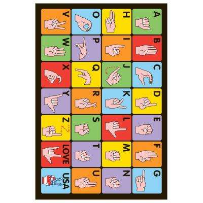 Fun Time Sign Language Multi Colored 19 in. x 29 in. Accent Rug