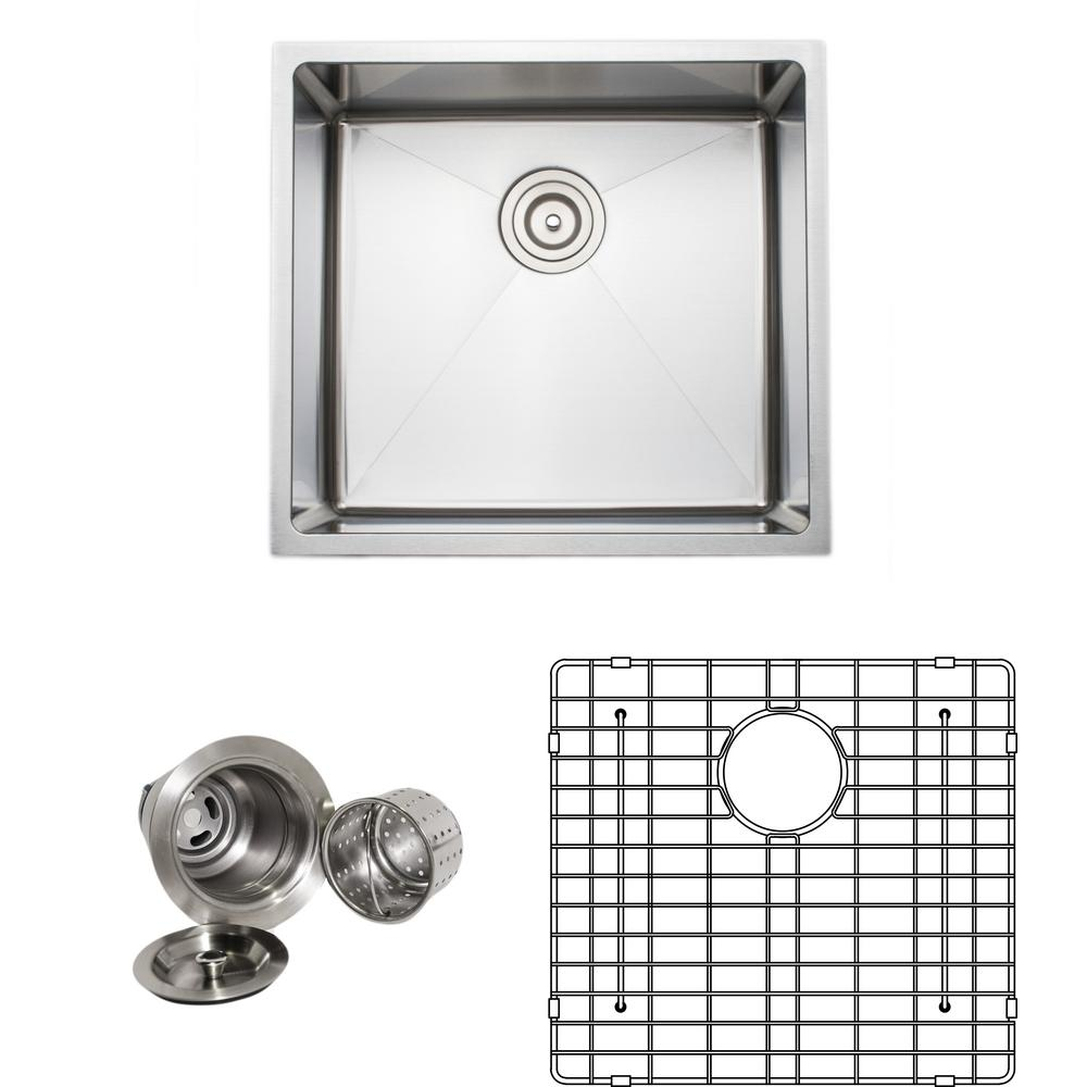 Wells The Chefs Series Undermount 20 in. Stainless Steel Handmade Single Bowl Kitchen Sink Package